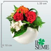 White pottery base arrangement with Stabilized Roses